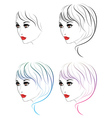 Fashion Hairstyles Lineart vector image vector image