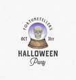 fortune teller party vintage style halloween logo vector image vector image