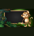 frame template with monkey in the wild vector image vector image