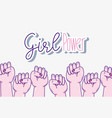 girl powers with hands clenched vector image vector image