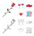 glasses with wine chocolate hearts bears vector image