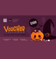 halloween gift voucher template with pumpkin and vector image