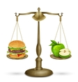 Hamburger and apple on scales