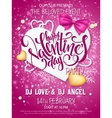 happy valentines day party poster with vector image vector image