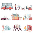house security flat set vector image vector image