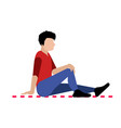 isolated man on a picnic carpet vector image