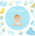 its boy bashower invitation banner template vector image