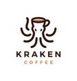 kraken octopus coffee cafe logo icon vector image