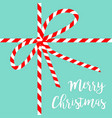 merry christmas red white ribbon bow knot on blue vector image vector image