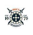 middle ages logo esc 1975 vintage badge or label vector image vector image