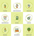 Modern Ecology Line Icons Set Planting Research vector image