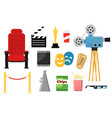 movie icon set isolated cinema theater chair vector image