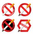 no smoking icon set realistic style vector image