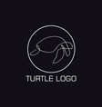 one line turtle logo vector image vector image
