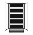 open glass fridge icon simple style vector image