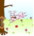Paper pink rabbit vector image