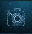 photo camera polygonal image on dark blue vector image vector image