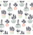 plants in pots pattern vector image vector image