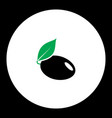 Plum with leaf fruit simple black and green icon