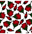 red floral hand drawn pattern background vector image