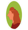red haired woman profile with closed eyes print vector image vector image