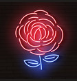 rose red glowing neon icon glowing sign logo vector image vector image