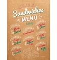 Sandwiches menu kraft vector image