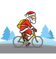 santa claus the bicycle messenger vector image vector image