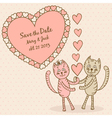 save the date card with lovers cats vector image
