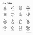 sea and ocean journey thin line icons set vector image
