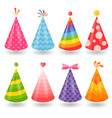 set colorful party hats isolated on white vector image vector image