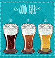 set of different beer in handmade cartoon style vector image