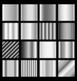set of silver gradients metallic squares vector image
