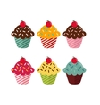 Set of six different cupcakes with cherry on white vector image vector image