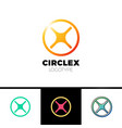 simple letter x logo circle line logotype vector image