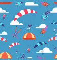 skydivers jumpers in sky seamless pattern vector image vector image