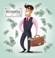 Smiling businessman with a bag of money vector image