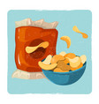 snack vintage card with chips vector image vector image