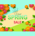 spring sale flyer template with paper cut flowers vector image vector image