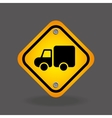 truck yellow road street sign vector image vector image