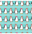 winter holiday pattern with cute penguins vector image vector image