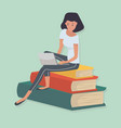 woman sitting stack book knowledge concept vector image vector image