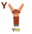 y is for yak letter y yak cute animal alphabet vector image vector image
