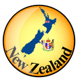 orange button with the image maps of New Zealand vector image