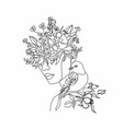 abstract woman face with bird and flowers one vector image