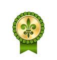 award ribbon gold icon golden medal fleur de lis vector image