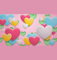 background holes and hearts with shadows vector image