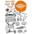 Barbecue party invitation template hand drawn bbq