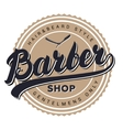 Barber shop retro vintage label badge emblem or vector image