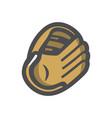 baseball brown gloves icon cartoon vector image